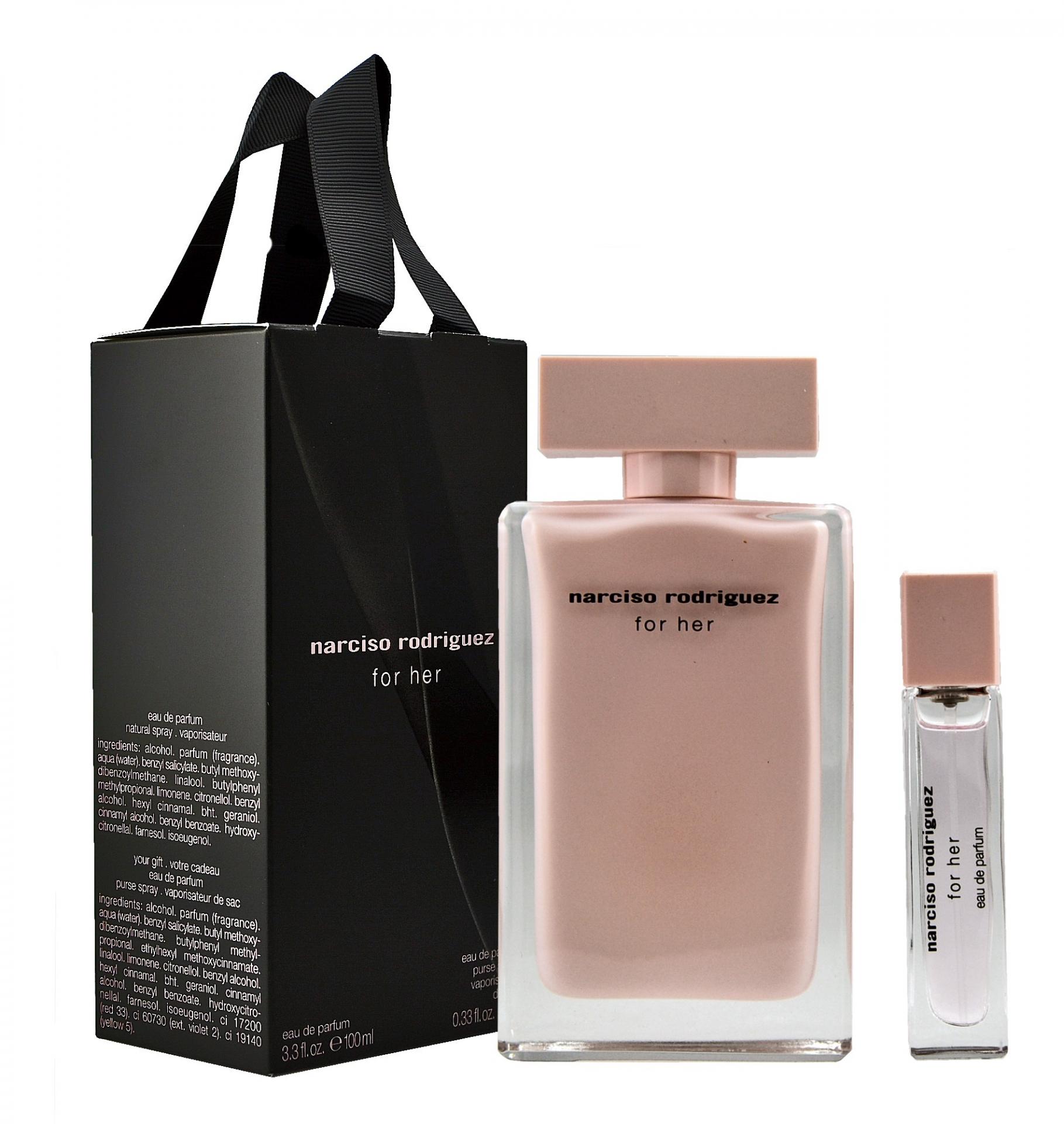 Narciso Rodriguez For Her 100ml Eau De Parfum + 10ml Eau De Parfum Eau De Parfum Giftset